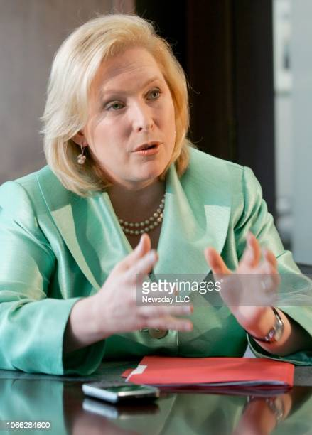 United States Senator Kristen Gillibrand of New York answers reporters' questions during an interview held at Newsday's office in Melville New York...