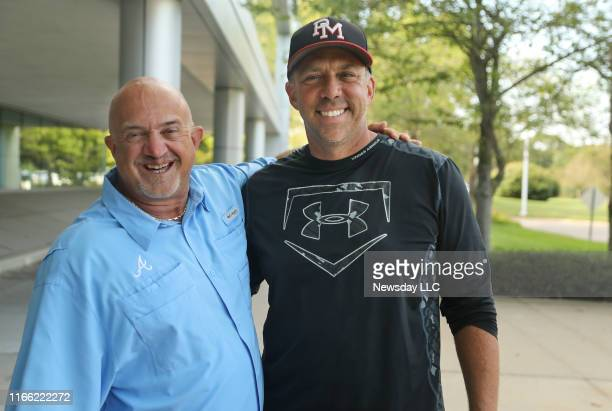 Ward Melville baseball coach Lou Petrucci, left, and Patchogue Medford High School baseball coach Anthony Frascogna pose outside Newsday's...