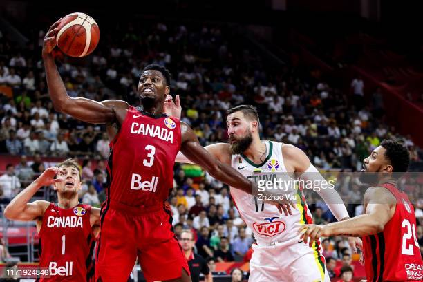 Melvin Ejim of Canada competes for the ball during the 2019 FIBA World Cup, first round match between Lithuania and Canada at Dongguan Basketball...