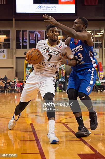 Melvin Ejim of the Erie BayHawks drives to the basket against the Delaware 87ers at the Erie Insurance Arena on November 20 2015 NOTE TO USER User...