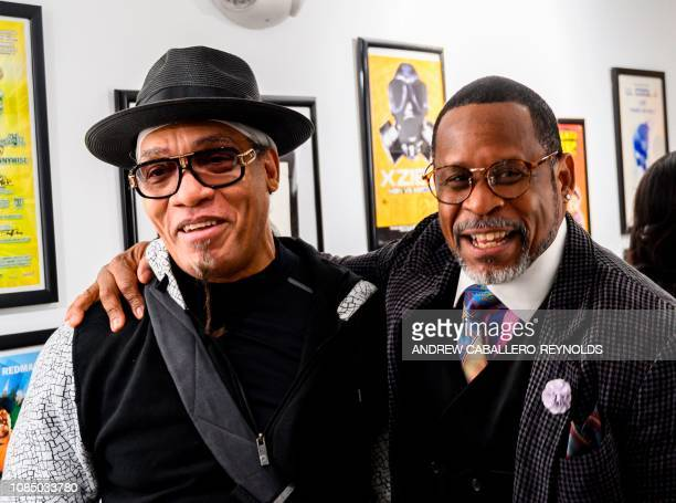 Melvin Glover aka Melle Mel speaks with Guy O'Brien aka Master Gee from the Sugarhill gang at the HipHop Museum Pop Up Experience in Washington DC on...