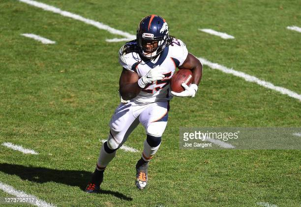 Melvin Gordon of the Denver Broncos in action during the game against the Pittsburgh Steelers at Heinz Field on September 20, 2020 in Pittsburgh,...