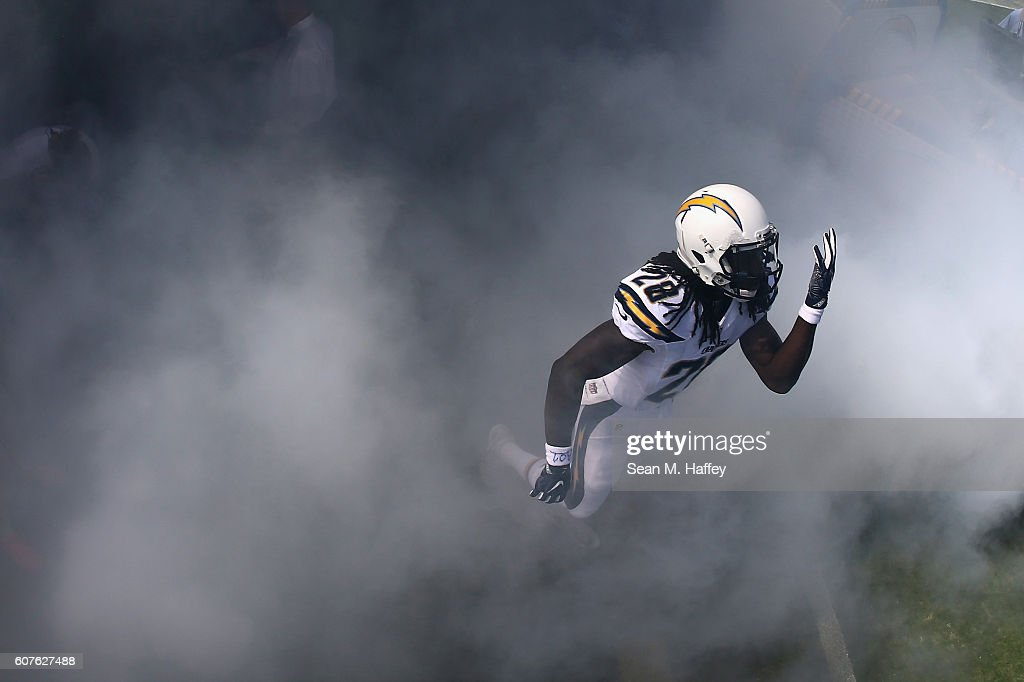 Melvin Gordon #28 of the San Diego Chargers enters the field prior to a game against the Jacksonville Jaguars at Qualcomm Stadium on September 18, 2016 in San Diego, California.