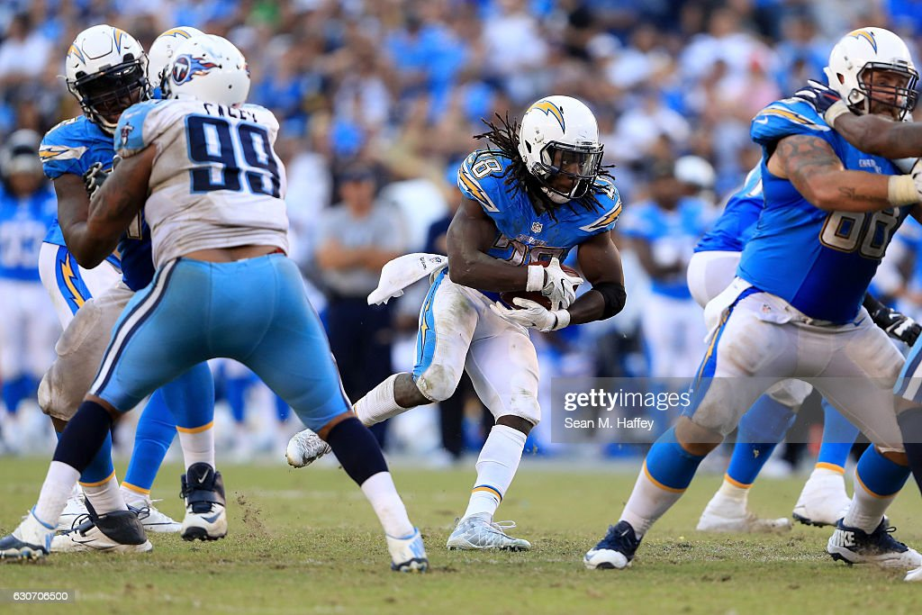 Melvin Gordon #28 of the San Diego Chargers runs with the ball during the second half of a game against the Tennessee Titans at Qualcomm Stadium on November 6, 2016 in San Diego, California.