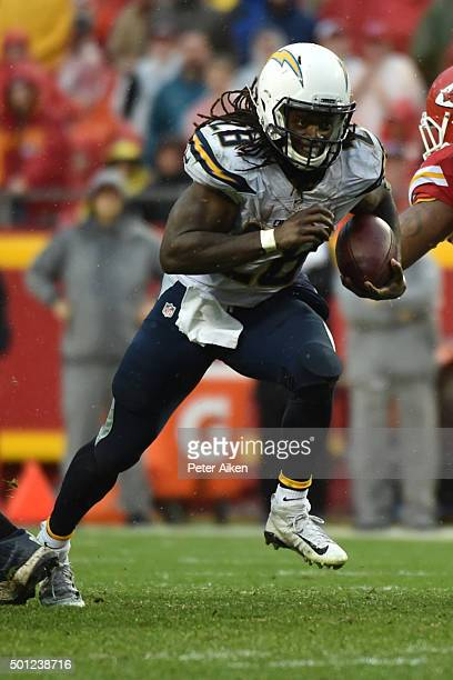 Melvin Gordon of the San Diego Chargers rushes the ball at Arrowhead Stadium during the third quarter of the game against the Kansas City Chiefs on...