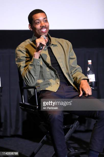 Melvin Gregg speaks onstage during the American Vandal QA premiere reception on April 04 2019 in Hollywood California