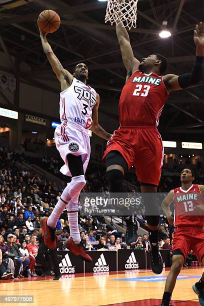 Melvin Johnson III of the Raptors 905 goes to the basket against the Maine Red Claws on November 19 2015 at the Hershey Centre in Mississauga Ontario...