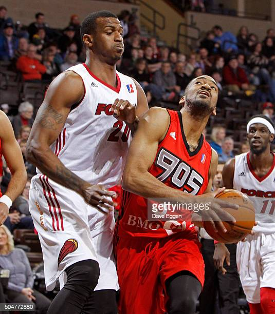 Melvin Johnson III of the Toronto Raptors 905 drives to the basket against the Sioux Falls Skyforce at the Sanford Pentagon on January 12 2016 in...