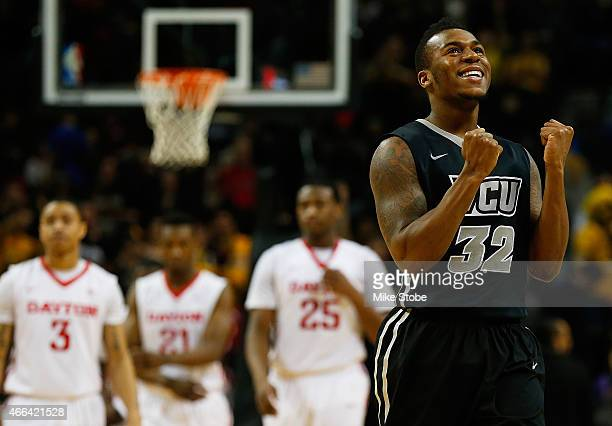 Melvin Johnson of the Virginia Commonwealth Rams celebrates in the final seconds of the game against Dayton Flyers during the Atlantic 10 Basketball...