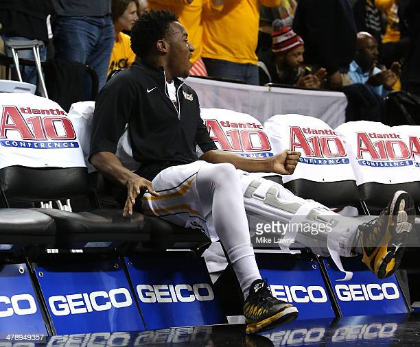 Melvin Johnson of the Virginia Commonwealth Rams looks on from the bench in the second half after sustaining an injury in the first half against the...