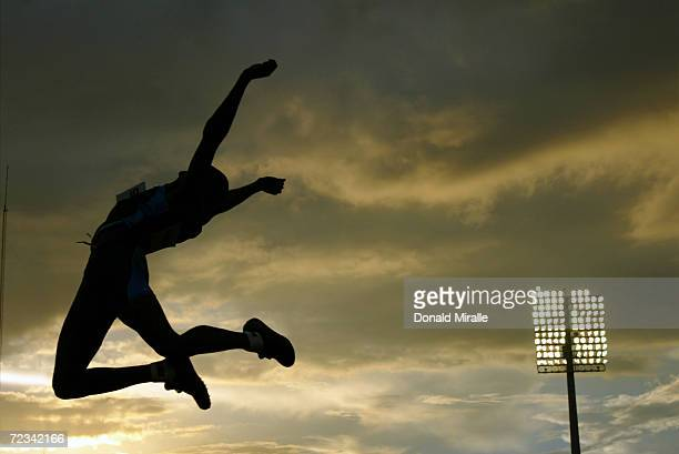 Melvin Lister of the USA flies through the air during the Men's Long Jump Final at the JP Duarte Olympic Stadium on August 6 2003 at the XIV Pan...