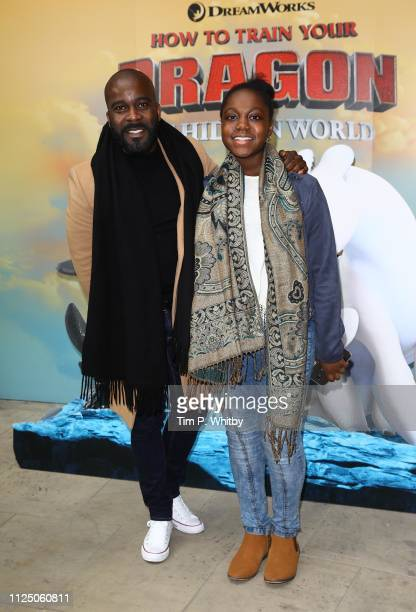 Melvin Odoom and guest attend How To Train Your Dragon The Hidden World – Immersive Screening on January 26 2019 in London England