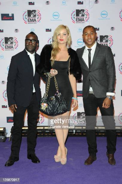 Melvin O'Doom Laura Whitmore and Rickie Haywood Williams attend the MTV Europe Music Awards 2010 at La Caja Magica on November 7 2010 in Madrid Spain