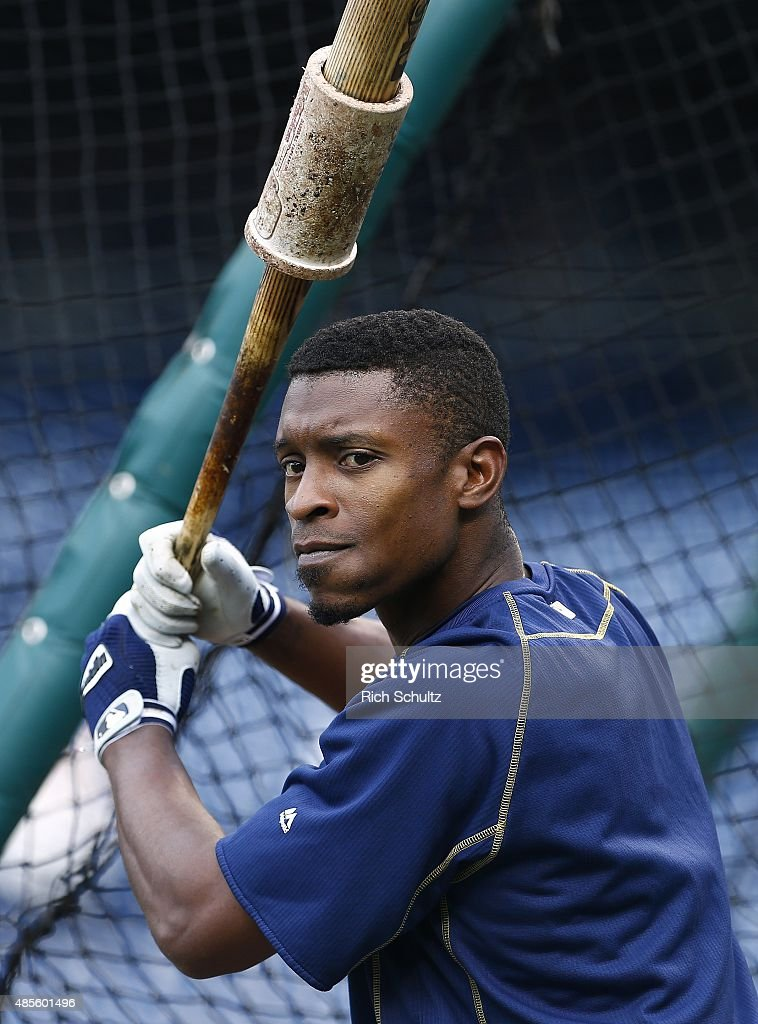 Melvin Upton Jr. #2 of the San Diego Padres gets set to take batting practice before their game against the Philadelphia Phillies at Citizens Bank Park on August 28, 2015 in Philadelphia, Pennsylvania.
