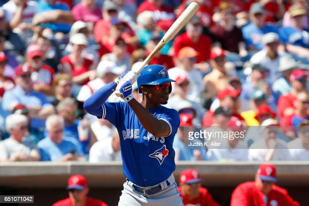Melvin Upton Jr #7 of the Toronto Blue Jays in action against the Philadelphia Phillies at Spectrum Field on March 9 2017 in Clearwater Florida