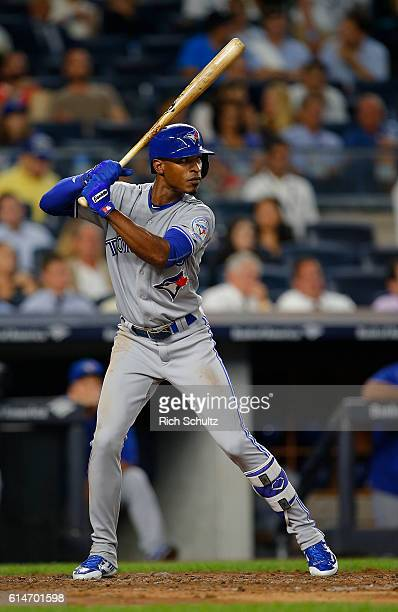 Melvin Upton Jr #7 of the Toronto Blue Jays in action against the New York Yankees during a game at Yankee Stadium on September 7 2016 in New York...