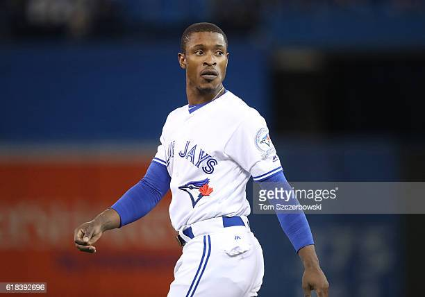 Melvin Upton Jr #7 of the Toronto Blue Jays reacts after flying out to end the eighth inning during MLB game action against the Baltimore Orioles on...