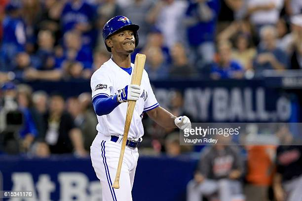 Melvin Upton Jr #7 of the Toronto Blue Jays reacts after striking out in the ninth inning against Andrew Miller of the Cleveland Indians during game...