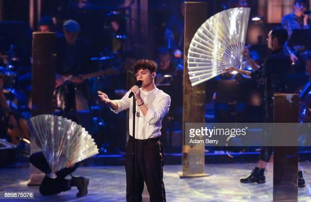 Melvin Vardouniotis performs during the 'The Voice of Germany' semifinals at Studio Berlin Adlershof on December 10 2017 in Berlin Germany The finals...