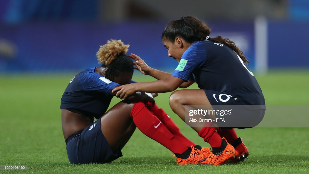 Melvine Malard and Sana Daoudi of France react after the FIFA U-20 Women's World Cup France 2018 Semi Final semi final match between France and Spain at Stade de la Rabine on August 20, 2018 in Vannes, France.