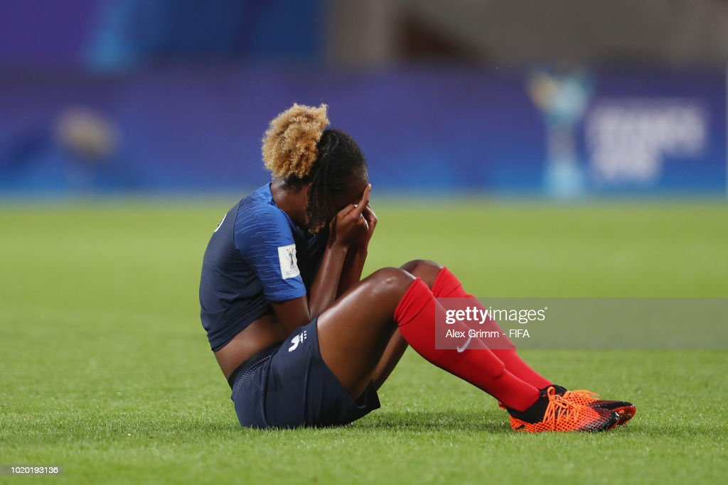 Melvine Malard of France reacts after the FIFA U-20 Women's World Cup France 2018 Semi Final semi final match between France and Spain at Stade de la Rabine on August 20, 2018 in Vannes, France.