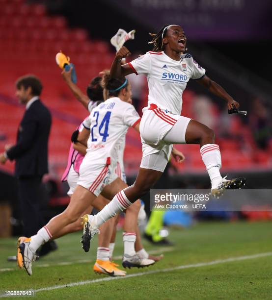 Melvine Malard of Olympique Lyonnais celebrates following her sides victory in the UEFA Women's Champions League Semi Final between Paris...