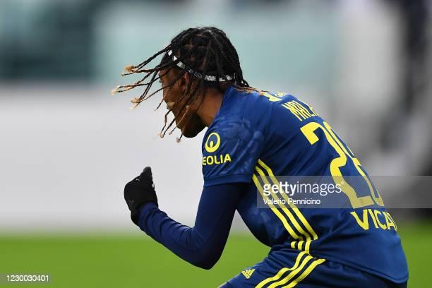 Melvine Malard of Olympique Lyonnais Women celebrates a goal during the UEFA Women's Champions League round of 32 first leg match between Juventus...