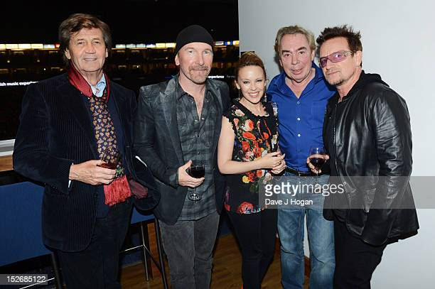 Melvyn Bragg The Edge Kylie Minogue Andrew Lloyd Webber and Bono attend Jesus Christ Superstar the arena tour at The O2 Arena on September 23 2012 in...