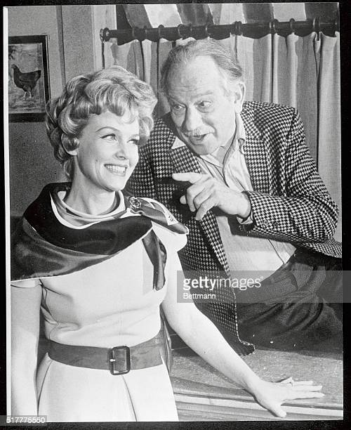 Melvyn Douglas and Barbara Britton in a scene from Spofford the Broadway comedy in which Douglas stars