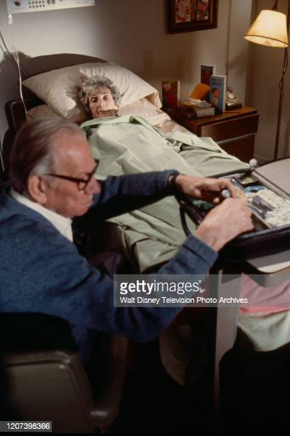Melvyn Douglas, Mildred Dunnock appearing in the ABC tv movie 'Murder or Mercy'.