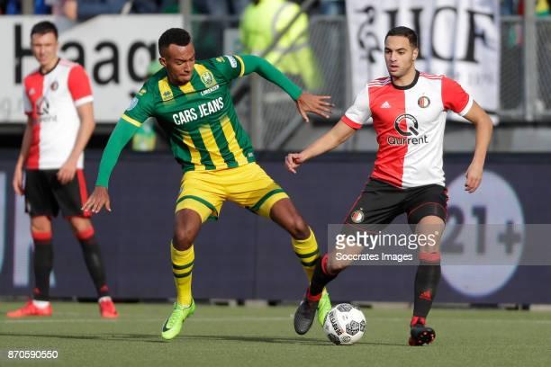 Melvyn Lorenzen of ADO Den Haag Sofyan Amrabat of Feyenoord during the Dutch Eredivisie match between ADO Den Haag v Feyenoord at the Cars Jeans...