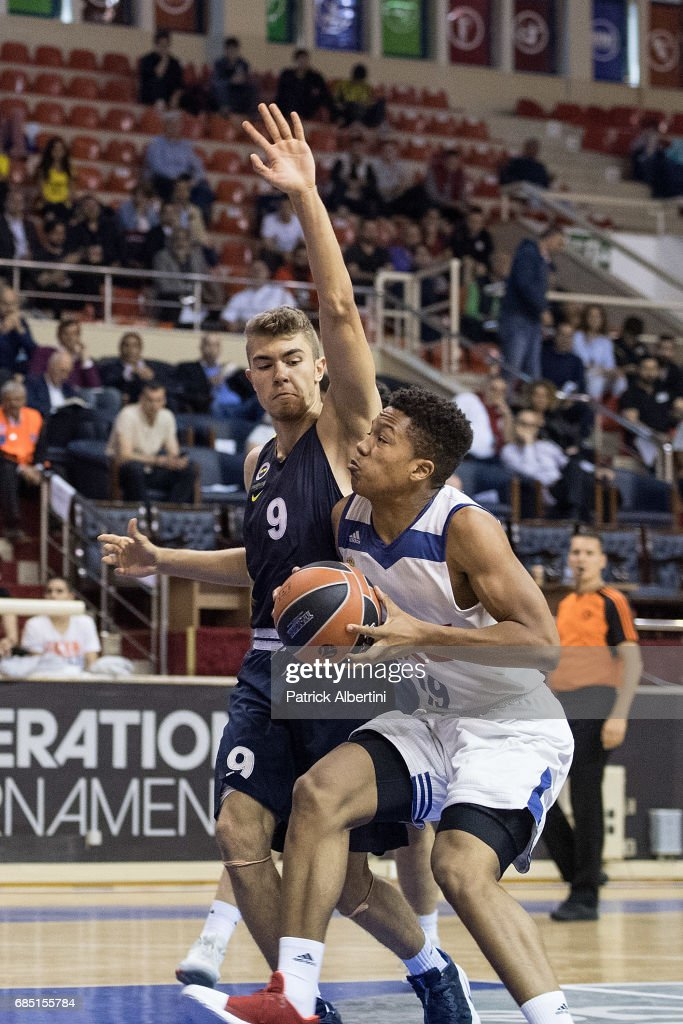 Melwin Pantzar, #19 of U18 Real Madrid in action during the Euroleague Basketball Adidas Next Generation Tournament game between U18 Real Madrid v U18 Fenerbahce Istanbul at Ahmet Comert on May 19, 2017 in Istanbul, Turkey.