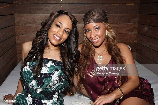 Melyssa Ford and Hazel Eyez CEO Arica Adams pose during the Hazel Eyez Experience at The Catalina Hotel on May 4 2008 in Miami Beach Florida