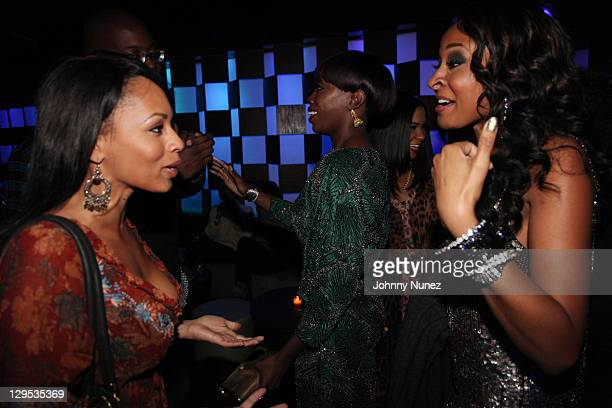 Melyssa Ford Estelle and Janell Snowden attend the Bottles and Strikes 2 year anniversary at Frames on October 17 2011 in New York City