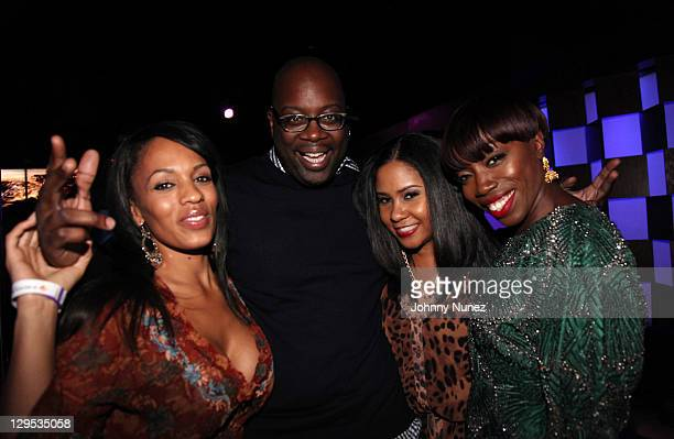 Melyssa Ford Michael Kyser Angela Yee and Estelle attend the Bottles and Strikes 2 year anniversary at Frames on October 17 2011 in New York City