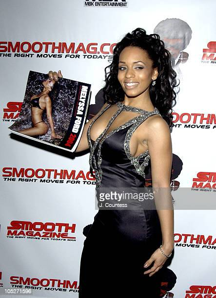 Melyssa Ford poses with her 2004 calendar during Melyssa Ford 2004 Calendar Launch at Lot 61 in New York City New York United States