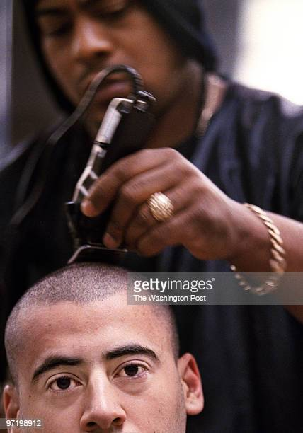 ME/marines Jahi Chikwendiu/TWP Raif Zakhem's first stop at Marine boot camp is the barber shop where Purnell Whitehead performs the lessthanaminute...