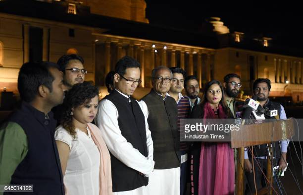 AICC member and Congress party leader Digvijaya Singh Gaurav Gogoi and Amrita Dhawan lead a delegation of students and teachers of Delhi University...