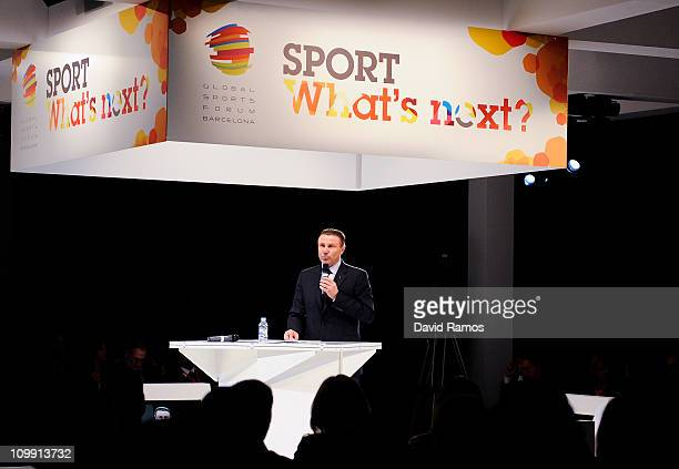 IOC member and Senior Vice President of the IAAF Sergey Bubka gives his speech during the official opening conference as part of the Global Sports...
