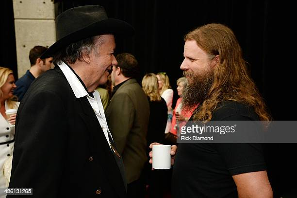 CMHOF member Bobby Bare and Singer/Songwriter Jamey Johnson chat during the 2014 Country Music Hall Of Fame Inductees Announcement at the Country...