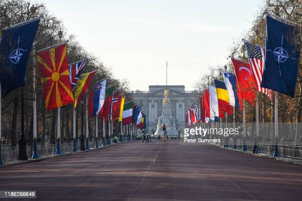 Member country flags fly on the Mall in front of Buckingham Palace on December 3 2019 in London, England. France and the UK signed the Treaty of...