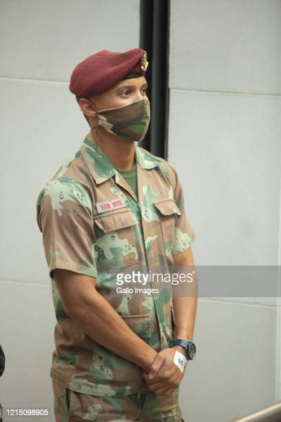 SANDF member during a welcome ceremony for Cuban health workers who were deployed to the Western Cape to support efforts in the fight against COVID19...