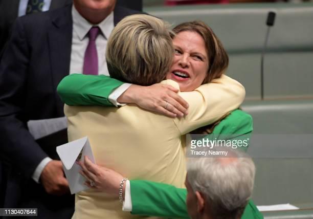 Member for Adelaide Kate Ellis hugs Deputy Opposition Leader Tanya Plibersek after making her valedictory speech to the House of Representatives at...