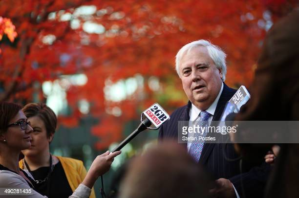 Member for Fairfax Clive Palmer speaks to the media on May 14 2014 in Canberra Australia Australian Treasurer Joe Hockey last night delivered the...