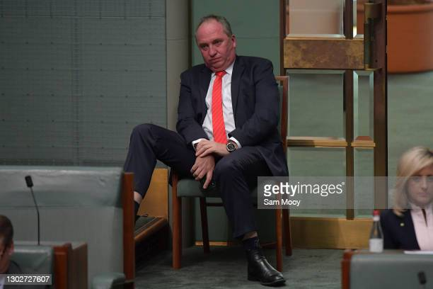 Member for New England Barnaby Joyce watches on during Question Time in the House of Representatives on February 18, 2021 in Canberra, Australia....