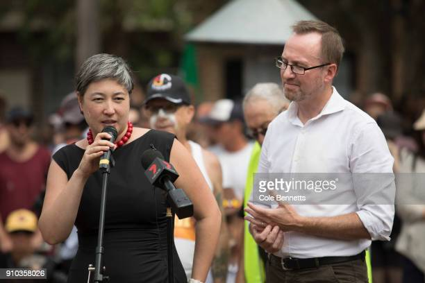 Member for NSW Greens Jenny Leong speaks at the Invasion Day Rally on January 26 2018 in Sydney Australia Australia Day formerly known as Foundation...