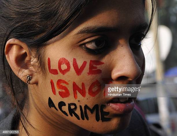 member in front of Academy of Fine Arts during a protest after Supreme court upholds section 377 of IPC on December 11 2013 in Kolkata India India's...