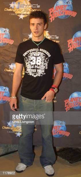 NSYNC member Justine Timberlake arrives for the VIP wrap party for the band's Challenge for the Children weekend at Planet Hollywood July 28 2002 in...