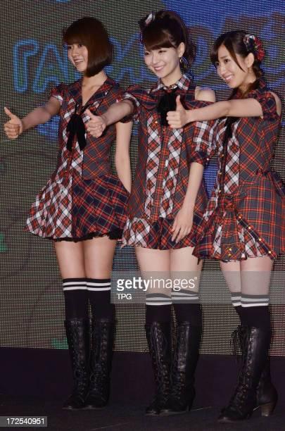 AKB48 member Kikuchi Ayaka Katayama Haruka and Abe Maria at press confernce of tourism activity on Tuesday July 02 2013 in Taipei Taiwan China