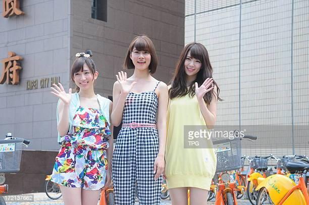 AKB48 member Kikuchi Ayaka Katayama Haruka and Abe Maria attended tourism activity on Monday July 01 2013 in Taipei Taiwan China